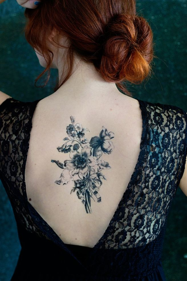 Bouquet Tattoo Tattoos: Awesome Black Bouquet Of Wildflowers Tattoo On Back