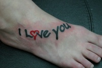 Black red i love you tattoo on foot
